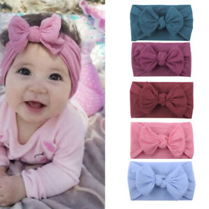 5PCS Girl Kids Baby Cotton Bow Hairband Headband Stretch Turban Knot Head Wrap f