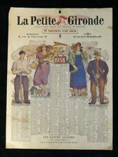 Calendrier LA PETITE GIRONDE de 1938