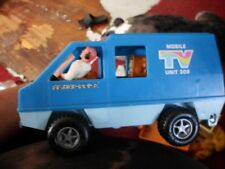Vintage Fisher Price Mobile TV Unit 309 Vehicle 1977 Blue with 1 figure