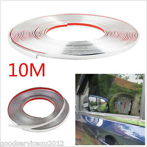 DIY 10M Silver Car Center Grille + Door Edge Lip Protector Sticker Decor Strip