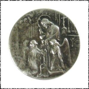 Vintage White Metal Button - Christ Serving Communion, Angel, The Eucharist