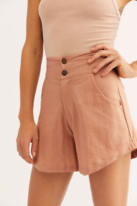 New Free People Evelina Linen Shorts, Pink Rose, Small, RRP $115