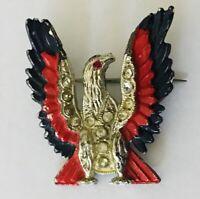 Phoenix Eagle Red Black Elegant Brooch Pin Badge Rare Vintage (R4)