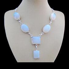 Opalglas, blau weiß eckig modern Design Kette Halskette Collier Silber plattiert