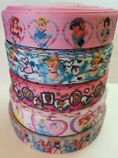 "5 Yards 7/8"" & 1"" princess Mix Lot Grosgrain Ribbon Hair Bow Supplies."