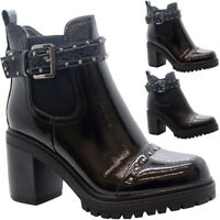 Ladies High Ankle Chelsea Boots Studs Chunky Block Heels Women Winter Shoes Size