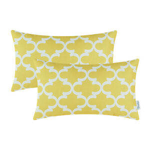 "2Pcs Yellow Bolster Pillow Shells Cushion Covers Accent Geometric Decor 12 x 20"""