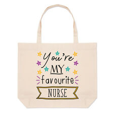 You're My Favourite Nurse Stars Linen Large Beach Tote Bag - Funny Best Carer