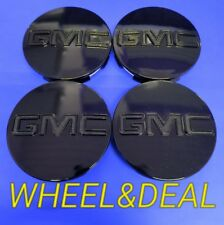 "4 Center Caps For GMC Black Sierra Yukon XL Denali Hub Cap 83mm 3.25"" 9595891"