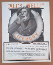 "1903 Lifebuoy Soap Antique Vintage Bathroom Household Print AD ""All's Well"""