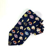Alynn Neckwear Tropical Fish Navy With Fish Design 100% Silk Tie