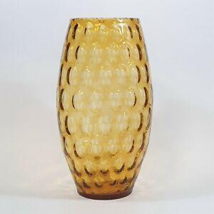 """Vintage Amber """"Large Olives"""" Borske Sklo Glass Vase 35cm Mid Century Czech Glass"""