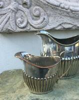 englische Jugendstil Queen Anne Sahne Milch Kanne Cream Sauciere Silber pl antik
