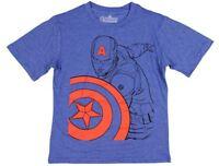 Marvel Avengers Boys Youth Captain America Blue Short Sleeve T Shirt