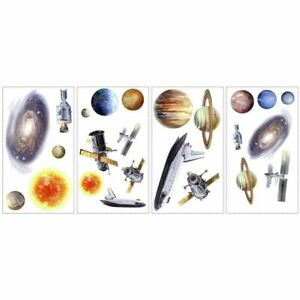 OUTER SPACE TRAVEL Wall Stickers Appliques 24 Planets Sun Stars Rocketship Decal