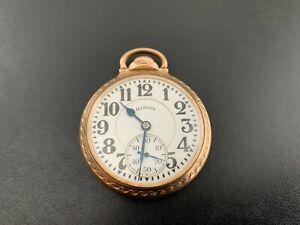 Antique Vintage 10K Gold Filled ILLINOIS BUNN SPECIAL 60HR 21 Jewel Pocket Watch