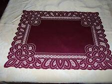 New Burgundy Lace Battenburg design Table Doily/Placemat 19 x 14 set of 2