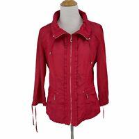 White House Black Market Hot Pink Jacket Women's Size 8 Ruffle Trim Cinch Back