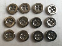 "50 SHIRT SIZE METAL BUTTONS FROM ITALY Chrome/Silver Finish 11mm 7/16"" 4hole"