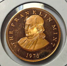 Franklin 1973 Proof Copper Medal By The Franklin Mint Commemorative