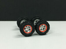R030 Hot Wheels 1/64 SET> 5 Spoke CHROME Red,OFFROAD 4x4 RUBBER,TIRE,REAL RIDER