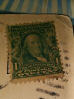 Vintage Ben Franklin Stamp 1 Cent US Postage  1908 w Postcard used .
