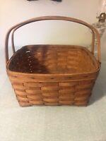 "12"" Vintage Longaberger Large Basket Handles Square Handwoven 1980's"