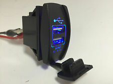MARINE BOAT RV DUAL USB SOCKET CHARGER BLUE LED INPUT 12-24V USB COVER 3.1A