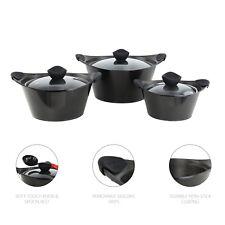 Set of 3pc Sq Pro Caia Non Stick DieCast Cooking Pot Casserole Stockpot Black