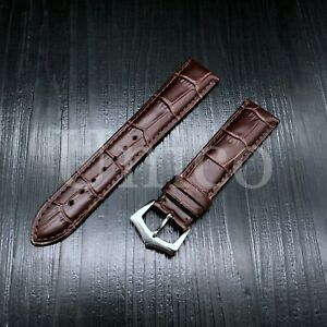 21MM BROWN GENUINE LEATHER ALLIGATOR WATCH STRAP FITS PATEK PHILIPPE REPLACEMENT