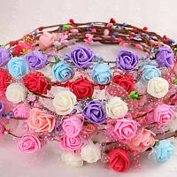 Sweet Girl Women Rose Flower Crown Headband Wreath Party Wedding Headwear Fy