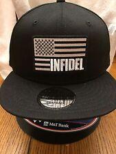 New Era NE400 Black Snapback Flat Bill Cap w/ Black/White American Flag INFIDEL