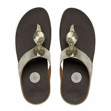 NEW FitFlop PIERRA JEWELED TOE-THONG SANDALS, Gold Leather, Women Size 10, $100