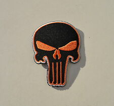 Skull,The Punisher,Patch,Aufnäher,Aufbügler,Badge,Iron On,Badge,Orange