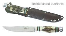 HUBERTUS Fahrtenmesser Hirschhorn mit Säge Messer