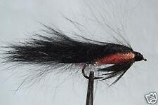10 x Mouche de Peche Streamer Zonker Noir H8/10/12 alevin fly black trout