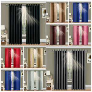 2X Blockout Curtains Thermal Blackout Curtains Fabric Pair Eyelet for Bedroom AU