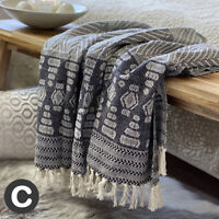 Luxury Dark Grey Beige Aztec Geometric ECO Cotton Soft Bed Sofa Blanket Throw