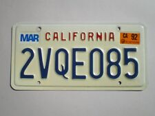 AUTHENTIC 1992 CALIFORNIA LICENSE PLATE