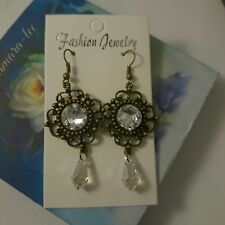 ARTISAN EARRINGS MADE WITH CLEAR SWAROVSKI CRYSTALS EDWARDIAN ANTIQUE STYLE