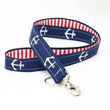 Nautical Lanyard Fabric ID Key Neck Strap - white anchors navy blue red stripes