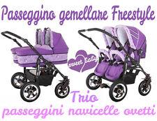 Passeggino gemellare freestyle 3in1 navicelle ovetti viola+fantasia pupazzi trio