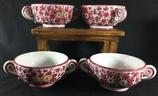 Grazia Deruta Hand Painted Italian Purple Floral Flower Flat Cream 2 Soup Bowls