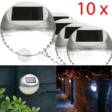 10 x SOLAR LED GARDEN FENCE LIGHTS WALL PATIO DOOR DECKING OUTDOOR ROUND SILVER