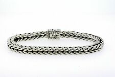 "John Hardy Sterling Silver Bracelet Modern Chain 8.5"" 6mm Square Shape Mens"
