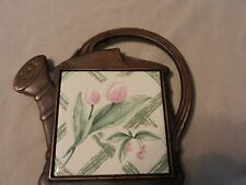 Pfaltzgraff Garden Party Tulip Tile in Watering Can Metal Trivet from 1993
