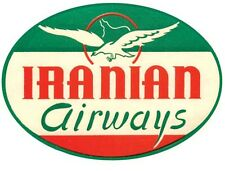 Iranian Airways   Airline    1950's Vintage-Looking Travel Sticker  Decal Label