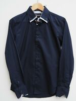 Fabulous RECAMICIA Men's Navy Blue Italian Designer Long Sleeve Shirt  SMALL 36""