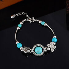 1 Charm Armband Armreif Armspange Schmetterling Perlen Antik Silber 19.5cm