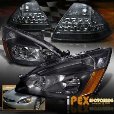 2006-2007 Honda accord 4Dr JDM Black Headlights W/ LED Tail Light Covers Smoke